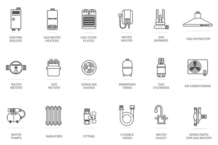 Vector linear icon gas equipment for the kitchen, bathroom and heating. Brochures, advertisements, manuals, technical descriptions. Isolated on a white background. 版權商用圖片 - 58393643