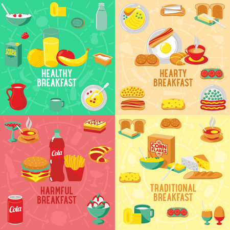 boiled eggs: Vector flat banner HEARTY, TRADITIONAL, HARMFUL, HEALTLY breakfast, diet food. Web graphics, banners, advertisements, business templates, food menu
