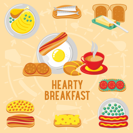 hearty: Vector flat banner HEARTY breakfast, diet food. Web graphics, banners, advertisements, business templates, Web graphics, banners, advertisements, business templates, food menu Illustration