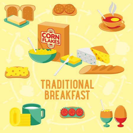 boiled eggs: Vector flat banner TRADITIONAL breakfast, diet food. Web graphics, banners, advertisements, business templatesWeb graphics, banners, advertisements, business templates, food menu Illustration