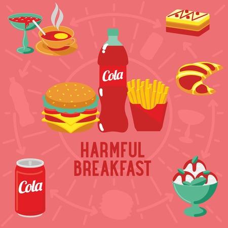 harmful: Vector flat banner HARMFUL breakfast, diet food. Web graphics, banners, advertisements, business templatesWeb graphics, banners, advertisements, business templates, food menu