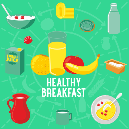 cottage cheese: Vector flat banner HEALTLY breakfast, diet food. Web graphics, banners, advertisements, business templates, Web graphics, banners, advertisements, business templates, food menu