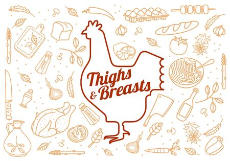 Vector illustration of chicken, vegetables image, bread, drinks and cooking tools. Brochures, advertisements, web design, web icon, food menu. Isolated on a white background