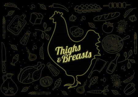 Vector illustration of chicken, vegetables image, bread, drinks and cooking tools. Brochures, advertisements, web design, web icon, food menu. On a black background