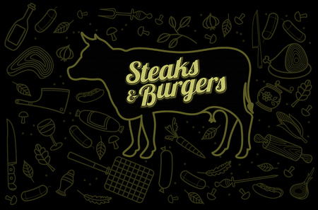 Vector illustration of beef, vegetables image, bread, drinks and cooking tools. Brochures, advertisements, web design, web icon, food menu. On a black background