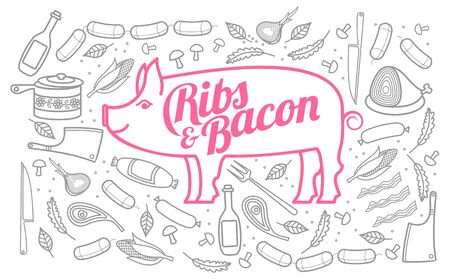 Vector illustration of pork, vegetables image, bread, drinks and cooking tools. Brochures, advertisements, web design, web icon, food menu. Isolated on a white background