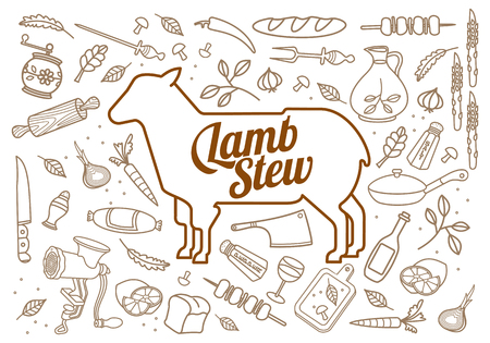 image lamb: Vector illustration of lamb, vegetables image, bread, drinks and cooking tools. Brochures, advertisements, web design, web icon, food menu. Isolated on a white background