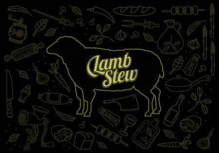 image lamb: Vector illustration of lamb, vegetables image, bread, drinks and cooking tools. Brochures, advertisements, web design, web icon, food menu. On a black background