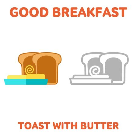 buttered: Vector flat and line icon toast with butter. Fresh and healthy breakfast, diet food. Web design, web icon, food menu. Isolated on a white background