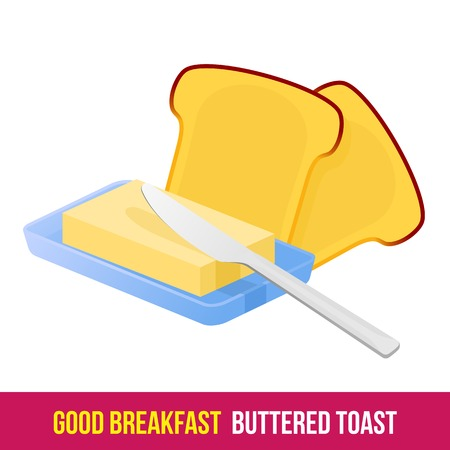 toasted sandwich: Vector flat gradient icon toast with butter. Fresh and healthy breakfast, diet food. Web design, web icon, food menu. Isolated on a white background Illustration