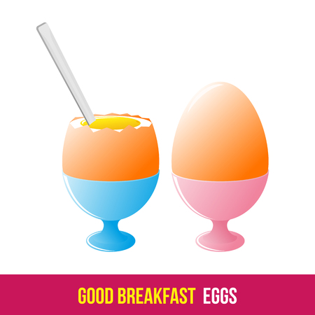 boiled eggs: Vector flat and line icon soft boiled eggs. Hot and healthy breakfast, diet food. Web design, web icon, food menu. Isolated on a white background. Illustration
