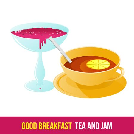fructose: Vector flat icon tea and jam. Fresh and healthy breakfast, diet food. Brochures, advertisements, web design, web icon, food menu. Isolated on a white background