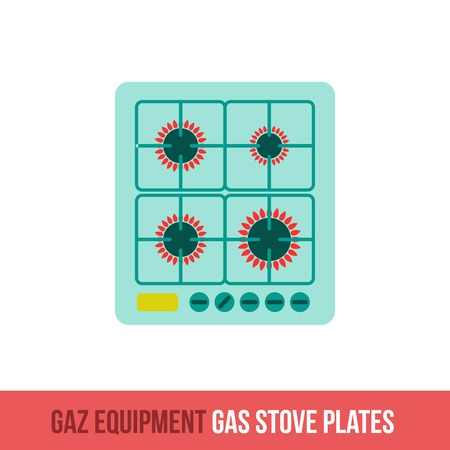 stove top: Vector flat icon gas equipment for the kitchen and bathroom. Gas stove plates. Web design, booklets, brochures, advertisements, manuals, technical descriptions. Isolated on a white background. Illustration