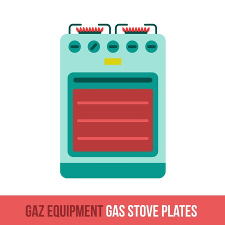 gas fireplace: Vector flat icon gas equipment for the kitchen and bathroom. Gas stove plates. Web design, booklets, brochures, advertisements, manuals, technical descriptions. Isolated on a white background. Illustration