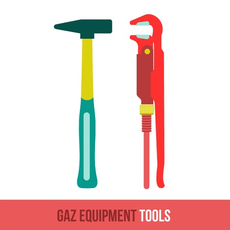 loosen: Vector flat icon gas equipment for the kitchen and bathroom. Locksmith tool. Web design, booklets, brochures, advertisements, manuals, technical descriptions. Isolated on a white background.