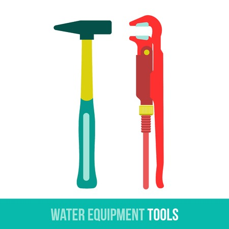 loosen: Vector flat icon water equipment for the kitchen and bathroom. Locksmith tool. Web design, booklets, brochures, advertisements, manuals, technical descriptions. Isolated on a white background.