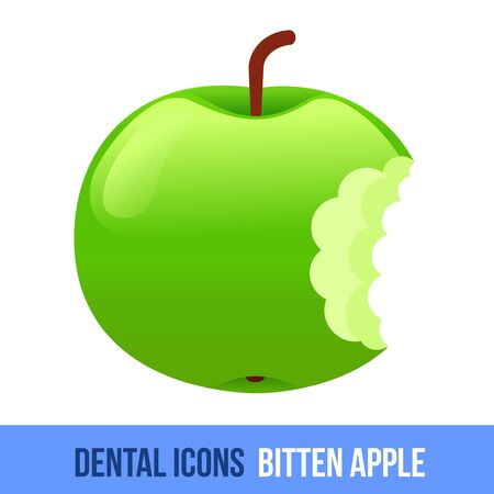bitten: Vector flat dental icon. Bitten apple. Brochures, advertisements, manuals, technical descriptions. Isolated on a white background. Illustration