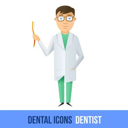 dental assistant: Vector flat dental icon. Dentist. Brochures, advertisements, manuals, technical descriptions. Isolated on a white background.