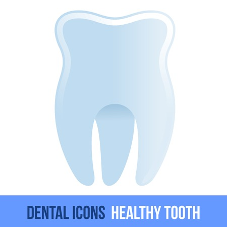 dental implants: Vector flat dental icon. Healthy tooth. Brochures, advertisements, manuals, technical descriptions. Isolated on a white background. Illustration