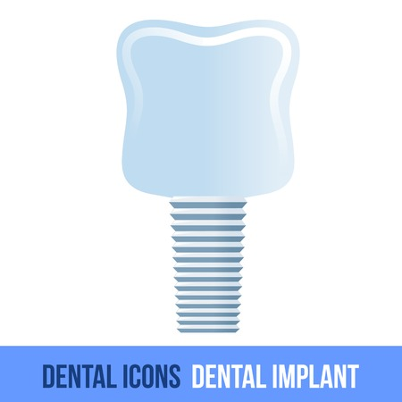 anesthesia: Vector flat dental icon. Dental implant. Brochures, advertisements, manuals, technical descriptions. Isolated on a white background.