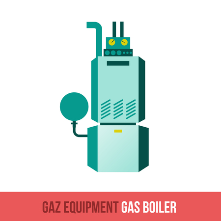gas tap: Vector flat icon gas equipment for the kitchen, bathroom and heating. Gas boiler. Booklets, brochures, advertisements, manuals, technical descriptions. Isolated on a white background.