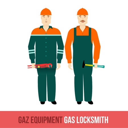 gas man: Vector flat icon locksmiths gas with the tools. Web design, booklets, brochures, advertisements, manuals, technical descriptions. Isolated on a white background.