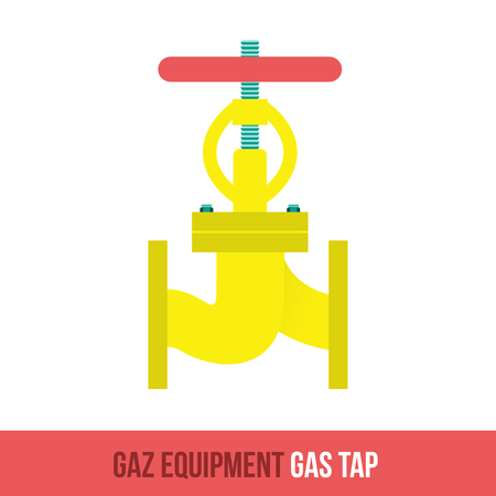gas tap: Vector flat icon gas equipment for the kitchen and bathroom. Gas tap. Web design, booklets, brochures, advertisements, manuals, technical descriptions. Isolated on a white background.