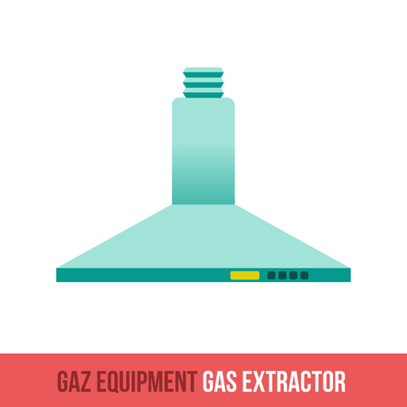 extractor: Vector flat icon gas equipment for the kitchen and bathroom. Gas extractor. Web design, booklets, brochures, advertisements, manuals, technical descriptions. Isolated on a white background. Illustration