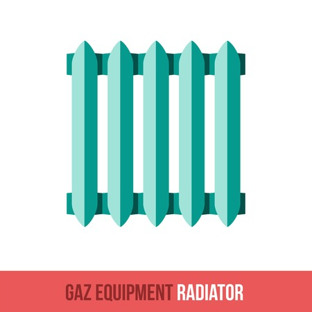 gas radiator: Vector flat icon gas equipment for the kitchen and bathroom. Central Heating Radiator. Web design, booklets, brochures, advertisements, manuals, technical descriptions. Isolated on a white background. Illustration