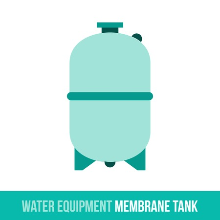 membrane: Vector flat icon water equipment for bathroom, heating. Membrane tank. Web design, booklets, brochures, advertisements, manuals, technical descriptions. Isolated on a white background.