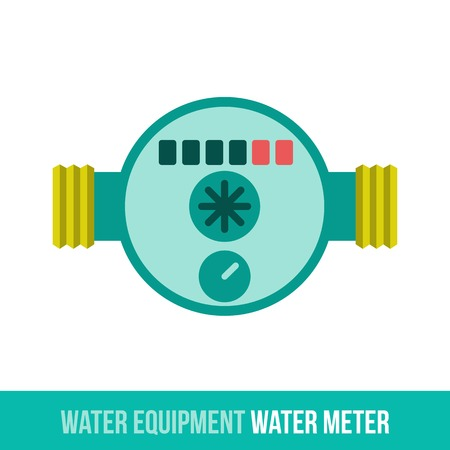 central heating: Vector flat icon water equipment for bathroom, heating. Water meter. Web design, booklets, brochures, advertisements, manuals, technical descriptions. Isolated on a white background.
