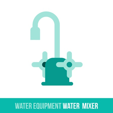 spew: Vector flat icon water equipment for bathroom, heating. Water mixer. Web design, booklets, brochures, advertisements, manuals, technical descriptions. Isolated on a white background.