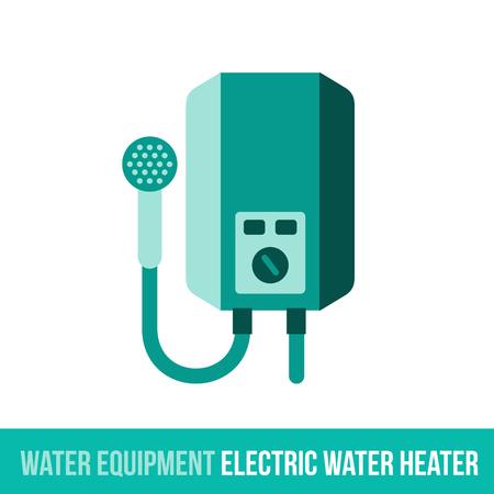 water heater: Vector flat icon water equipment for bathroom, heating. Electric water heater. Web design, booklets, brochures, advertisements, manuals, technical descriptions. Isolated on a white background. Illustration