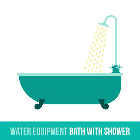 showering: Vector flat icon water equipment for bathroom, heating. Bath with shower. Web design, booklets, brochures, advertisements, manuals, technical descriptions. Isolated on a white background. Illustration