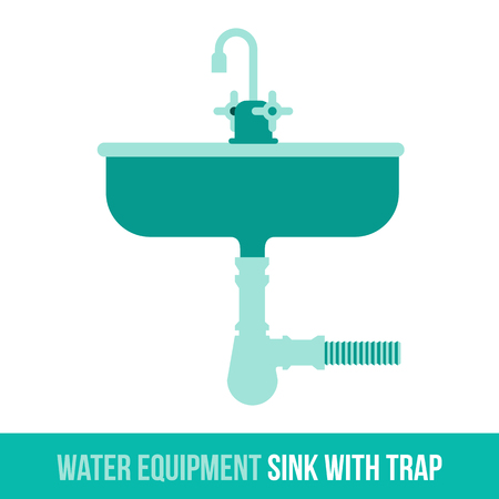 siphon: Vector flat icon water equipment sink with trap for bathroom, heating. Web design, booklets, brochures, advertisements, manuals, technical descriptions. Isolated on a white background.