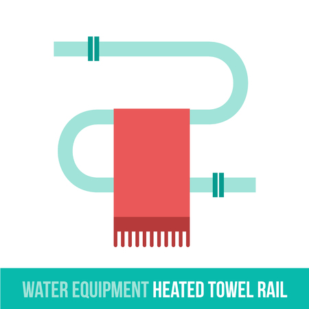 central heating: Vector flat icon water equipment for bathroom, heating. HEATED TOWEL RAIL. Web design, booklets, brochures, advertisements, manuals, technical descriptions. Isolated on a white background.