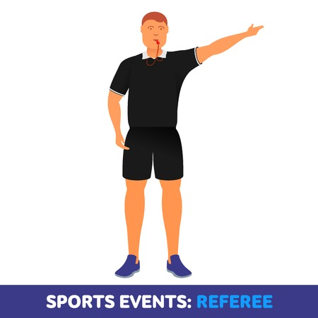 reprimand: Vector flat icon sport events - sports referee with a whistle. booklets, brochures, promotional materials, banners, web design. Isolated on a white background