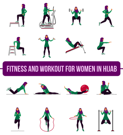 Muslim woman in hijab fitness, aerobic and workout exercise in gym. Vector set of gym icons in flat style isolated on white background. People in gym. Gym equipment, weights, treadmill, ball.