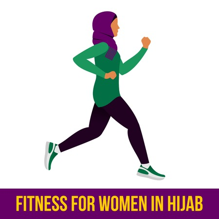 aerobic: Muslim woman in hijab fitness, aerobic and workout exercise in gym. Vector set of gym icons in flat style isolated on white background. People in gym. Gym equipment.