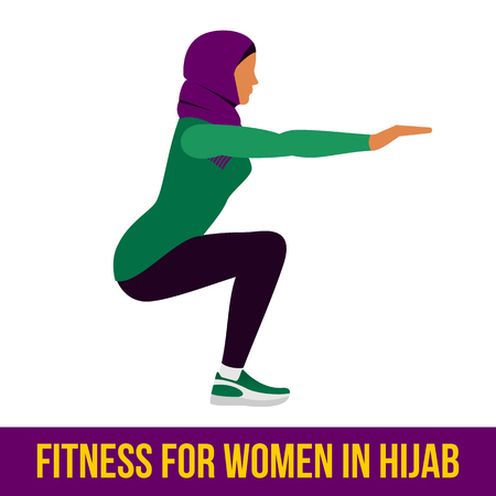 shaping: Muslim woman in hijab fitness, aerobic and workout exercise in gym. Vector set of gym icons in flat style isolated on white background. People in gym. Gym equipment.
