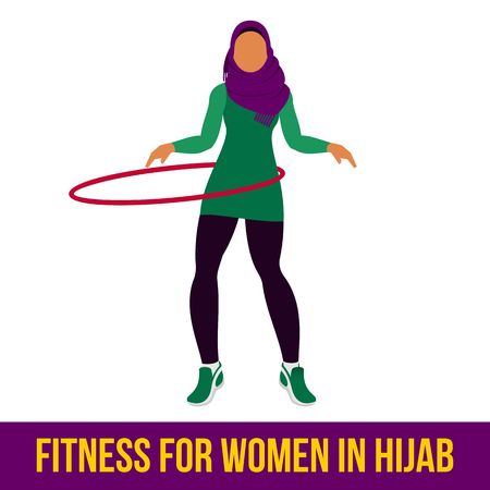 Muslim woman in hijab fitness, aerobic and workout exercise in gym. Vector set of gym icons in flat style isolated on white background. People in gym. Gym equipment. Stock Vector - 58785687