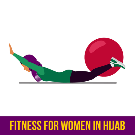 Moslim vrouw in hijab fitness, aerobic en workout oefening in de sportschool. Vector set van gym pictogrammen in vlakke stijl op een witte achtergrond. Mensen die in gymnastiek. Fitnessapparatuur.