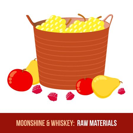 moonshine: Moonshine and whiskey. Harvest raw materials - apples, pears, berries, basket with grapes. Vector flat Illustration. Isolated on a white background