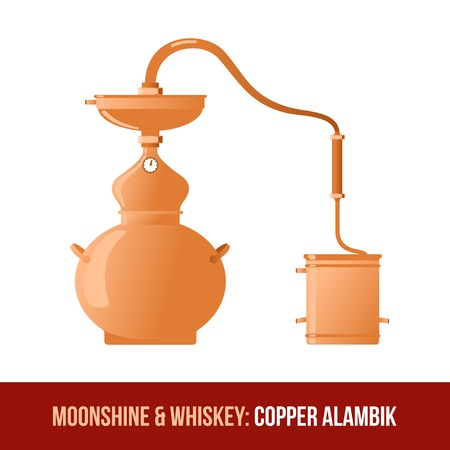 moonshine: Moonshine and whiskey. The distillation apparatus for the production of whiskey, moonshine, alcohol, and vodka - Copper alambik. Vector flat Illustration. Isolated on a white background.