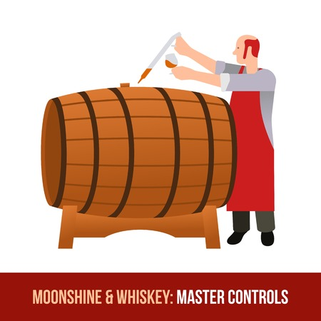 Master gains a sample of oak barrels for aging tasting, castles and taste whiskey, brandy, calvados. Vector flat Illustration. Web design, web icon, food menu. Isolated on a white background. Illustration