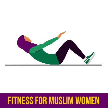 Muslim woman in fitness, aerobic and workout exercise in gym. Vector set of gym icons in flat style isolated on white background. People in gym. Gym equipment. Illustration