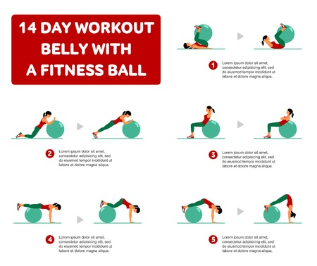 14 day workout. Fitness, Aerobic and workout exercise in gym. Vector set of workout icons in flat style isolated on white background. Fitness equipment, dumbbell, weights, treadmill, ball.