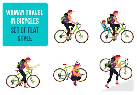 Donna che viaggia in bicicletta. Vector piatta illustrazione. grafica web, banner, pubblicità, opuscoli, modelli di business. Isolato su uno sfondo bianco