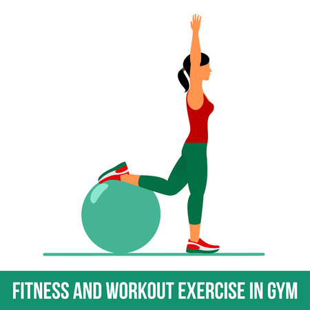 lunges: Ball exercise. Fitness, Aerobic and workout exercise in gym. Vector set of workout icons in flat style isolated on white background. Fitness equipment - ball.