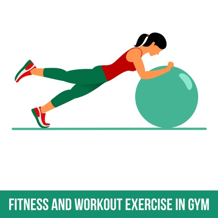Ball exercise. Fitness, Aerobic and workout exercise in gym. Vector set of workout icons in flat style isolated on white background. Fitness equipment - ball.